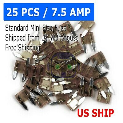 25pc 7.5 Amp MINI Blade Small Fuse Assortment Auto Car Motorcycle SUV FUSES Kit