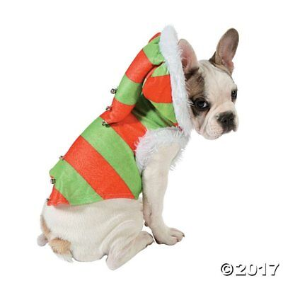 Dog or Cat Pet Elf Costume Red green stripe hooded white fur trim S/M
