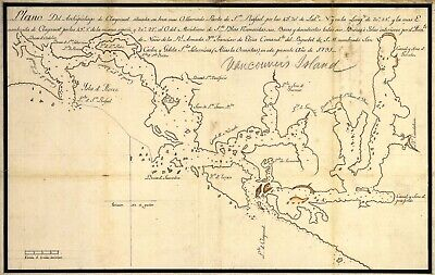 A4 Reprint of Old Maps 1791 Map Vancouver Island