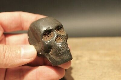 Vintage Antique Style Miniature Cast Iron Skull Paperweight