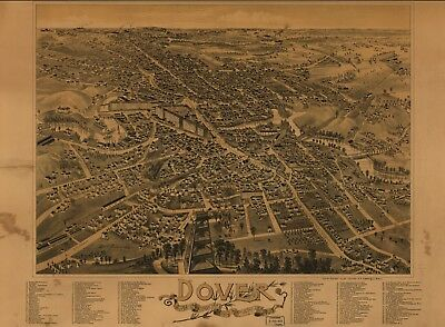 A4 Reprint of American Cities Towns States Map Dover Strafford Nh