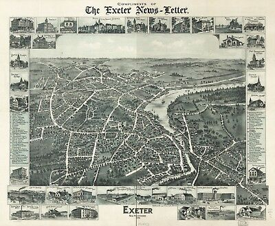 A4 Reprint of American Cities Towns States Map Exeter Village Nh