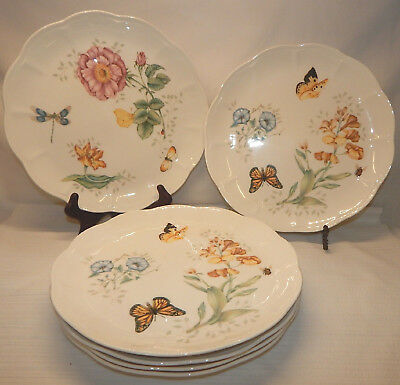 Set of 6 Lenox BUTTERFLY MEADOW (4 Dragonfly & 2 Monarch) Dinner Plates, EUC