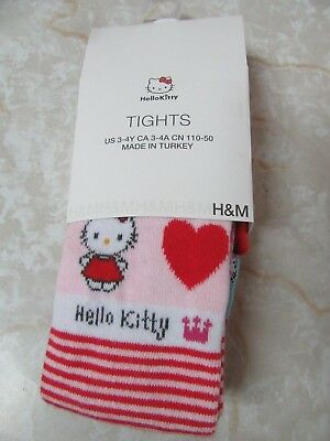 Hello Kitty Tights US 3-4Y H&M Hard to Find Pink Red Blue Hearts New NIP