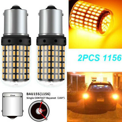 2x 3000K 1156 144SMD BAU15S PY21W Canbus Amber Car LED Turn Signal Lights Lamps