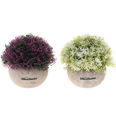 UltraOutlet 2-pack Artificial Small Plants Mini Faked Potted Plants Decorations
