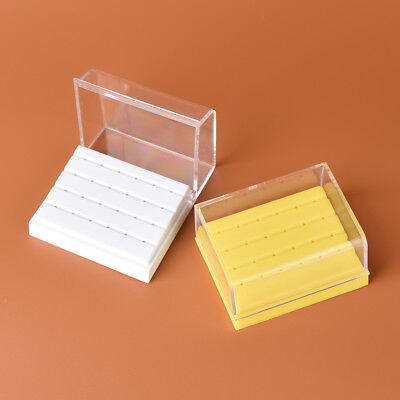 24 Holes Dental Bur Holder Disinfection Carbide Burs Block Drills Case Box FS