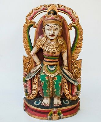 """Vintage 19"""" Bali Indonesian Carved Wood & Painted Figure Of a God Deity"""