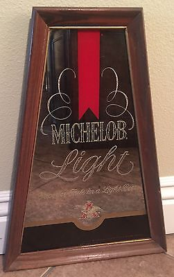 Michelob Light Anheuser Busch Antique Vintage 1978 70s Beer Wood Mirror Bar Sign