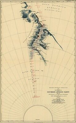A4 Reprint of Map 1907 British Antartic Expedition Southern Journey