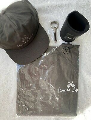 James Squire Kit Black Cap T-shirt Stubby Holder Beer - Brand New !