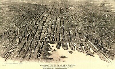 A4 Reprint of Old Maps Birds Eye View Of Heart Baltimore 1911 Map