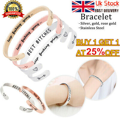 Personalized Cuff Bracelet Letter Engraved Bangle Keep Fucking Going 65% OFF B1E