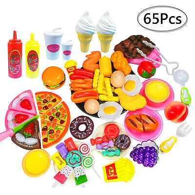 65pcs Kitchen Pretend Play Toy Food Cutting Toys Simulation Kids Gifts Girl Boy