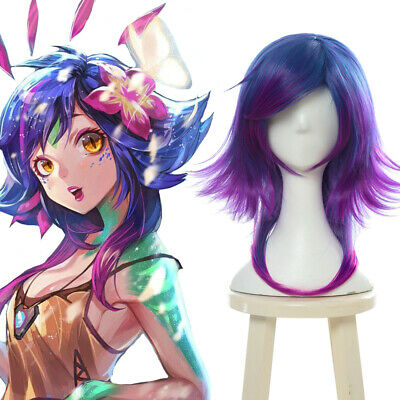 LOL the Curious Chameleon Neeko Short Blue Purple Gradient Colored Cosplay Wig