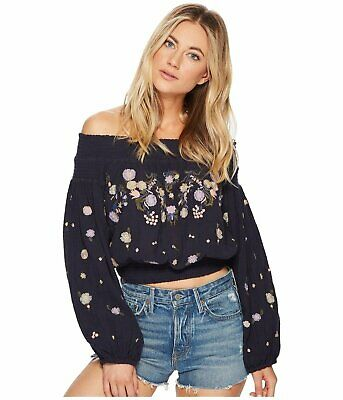 f42e50a21261a FREE PEOPLE  128 Saachi Distressed Embroidery Off The Shoulder Shirt Top M  Navy