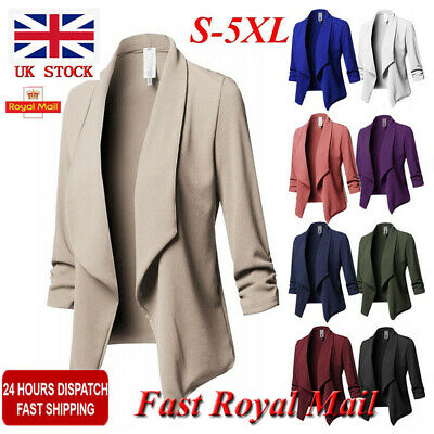 Plus Size Womens Collar Suit Thin Jacket Coat Ladies Blazer Cardigan UK Sz 12-22
