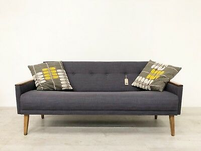 Vintage Inspired Danish Mid Century 60S 3 Seater Cocktail Sofa Settee In Grey