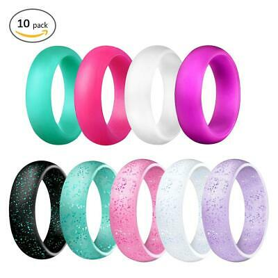 10 PCS Silicone Wedding Gym Thin Ring Band Outdoor Glitter Stackable 2.7mm