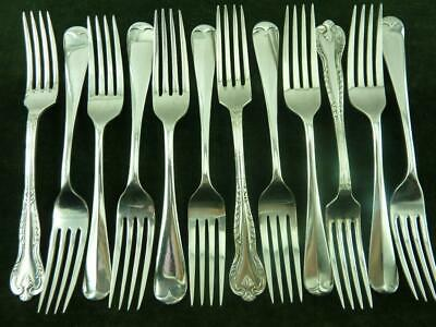 12 Vintage Dinner Table Forks mixed patterns silver plated mixed makers #4