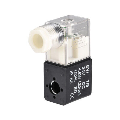 DC 24V Clear Electric Solenoid Air Valve Coil for 4V210 Series Red Light
