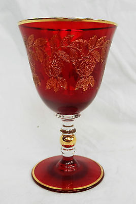 Antique Moser Ruby Red Bubble Stem Wine Glass with Gilded Engraving