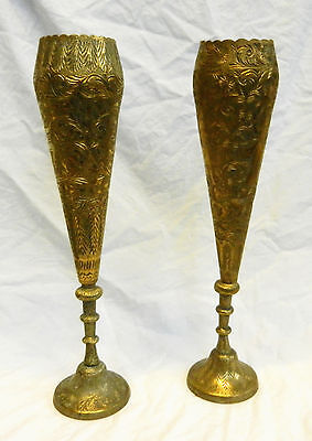 Pair of Antique Anglo Indian Hand Chased & Engraved Brass Vases / Vase  c 1880s