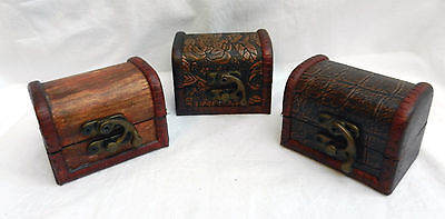 Small Wooden Pirate Chest / Trunk Trinket Box / Boxes - BNWT