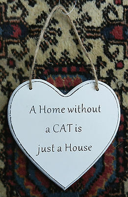 Wooden Hanging Plaque - A Home Without a CAT is Just a House - BNWT