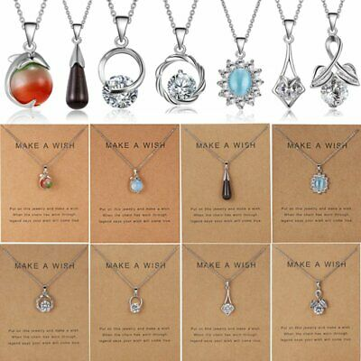 Women Crystal Natural Stone Zircon Pendant Necklace Clavicle Chains Jewellery