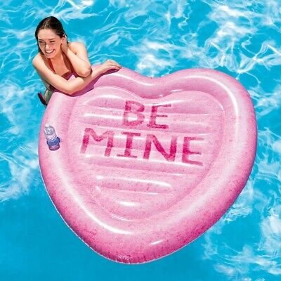Glitter Heart Pool Float Inflatable Swimming Ring Girls Beach Photo Props Toyx1