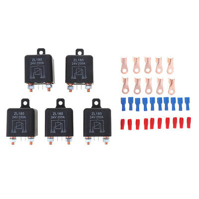 5X 200A 4-Pin Car Relay Switch Automotive Changeover Relay Socket Holder 24V