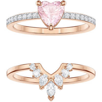 16882d267 One Heart Ring Set Size 8 Eur 58 Multi, Rose Gold 2019 Swarovski Jewelry  5474939
