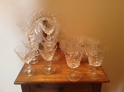 19 pcs antique fine crystal 8 plates 11 wine beverage pedestal glasses 2 sizes