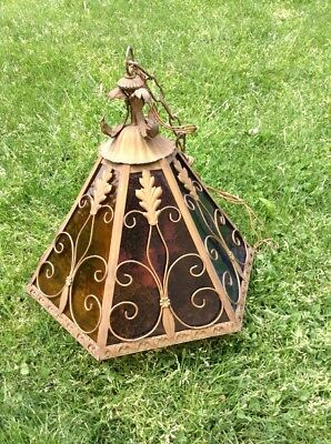 Unique 3 Candle Metal And  Glass Ornate Vintage Electric Hanging Light