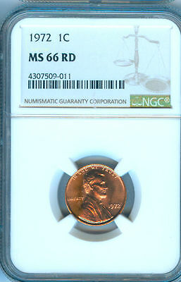 1972-P Lincoln Penney Ngc Ms-66 Red