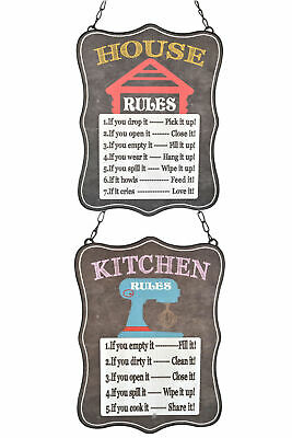 Set 2 Retro Vintage-Style Chalkboard-Look House/Kitchen Rules Wall Signs Plaques