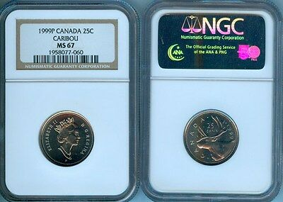 1999P Canada Caribou 25 Cents Ngc Ms-67