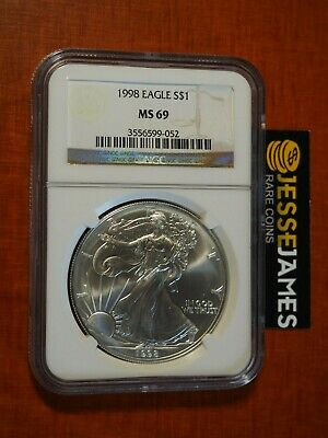 1998 $1 American Silver Eagle Ngc Ms69 Classic Brown Label