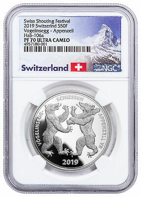 2019 Switzerland Shooting Festival Thaler Appenzell Silver NGC PF70 UC SKU57709