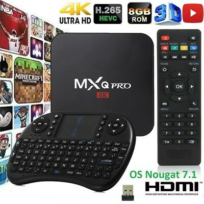 MXQ Pro 64-Bit Android 7.1 Ultra 4K HD Quad Core Smart TV Box+KEYBOARD+KO DI17.6