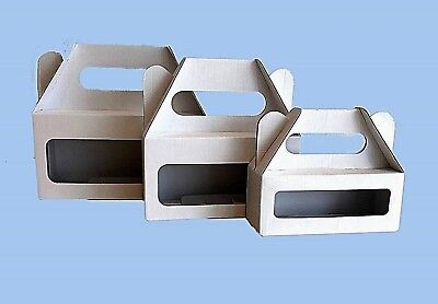 Small Window Box Carry Box Ideal for Kraft items  Die Cut  White  Pk of 10