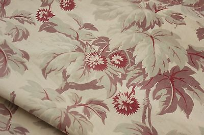 Antique Fabric French printed cotton faded foliage pattern shabby chic c1880