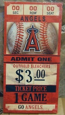 """Los Angeles Angels Game Ticket Admit One Go Angels Wood Sign 6""""X12'' Wincraft"""