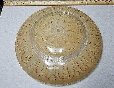 "Vintage Antique 15"" Art Deco Beige Ceiling Light Shade Heavy Thick Glass"