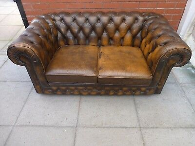 A Tanny/Brown Leather Chesterfield Two Seater Settee ***DELIVERY AVAILABLE**