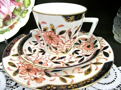 POINTONS 1880's tea cup and saucer trio England imari cobalt blue teacup floral