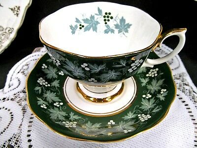 ROYAL ALBERT tea cup and saucer Chateau series Lyons teacup teal  green