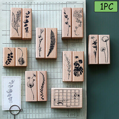 Painting Wooden Rubber Stamp Cards Decor Scrapbooking Floral printed