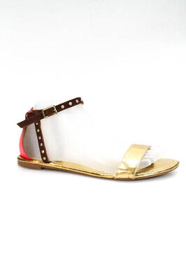 f9992b0e7 Cynthia Vincent Womens Ankle Strap Sandals Size 7.5 Gold Tone Metallic  Leather